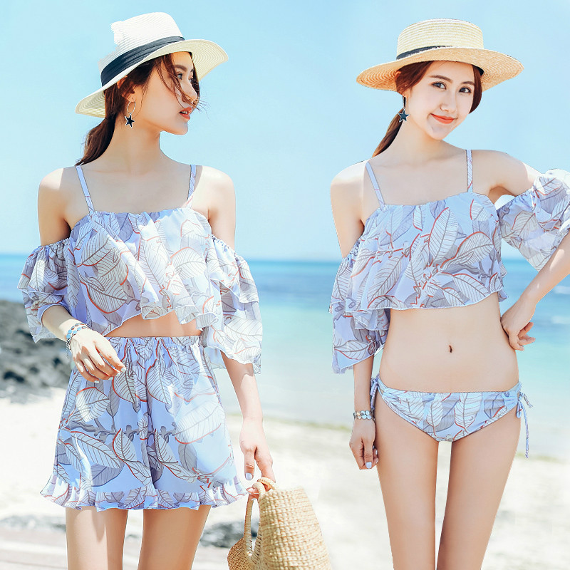 Beach Sports Swim Woman Swimsuit Bikini Three-piece Suit Skirt Style Size Chest Gather Together Hot Spring Swimsuit<br>