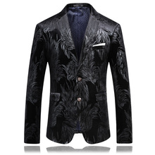 2017 Men Slim Fit Blazer Pattern Designs 3XL 4XL Fashion Stylish Black Velvet Party Blazer For Men(China)