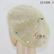 6 Colors hijab fashion dubai Angora rabbit hair Women's hats with Rhinestones muslim women jilbab free shipping 121496-121501