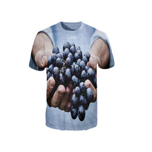 2017 The Most Popular Upper Body T-shirt Gentleman Short Sleeves T Shirts Hand with Grapes Printing Fashion Casual T Shirt