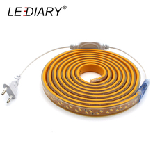 LEDIARY IP67 LED Strip 220V 5630/5730 120LED/M Waterproof Flexible Lamp Replace T5 Real 10W/M With EU/US Plug Warm/Cold White(China)
