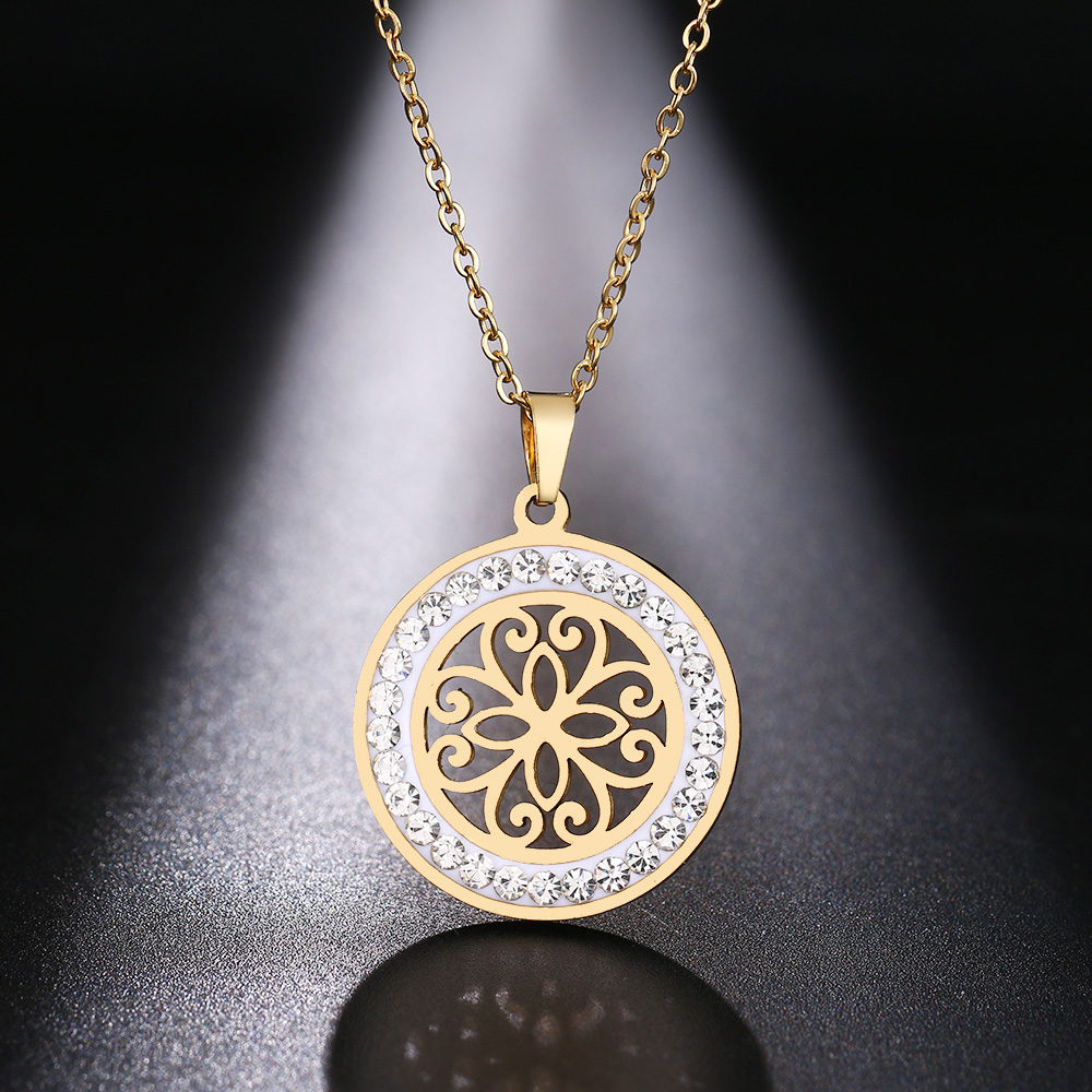 Cacana Stainless Steel Crystal Round Pendants Necklace Women Jewelry Hollow Trendy Necklaces Donot Fade Valentine's Day Gift (6)