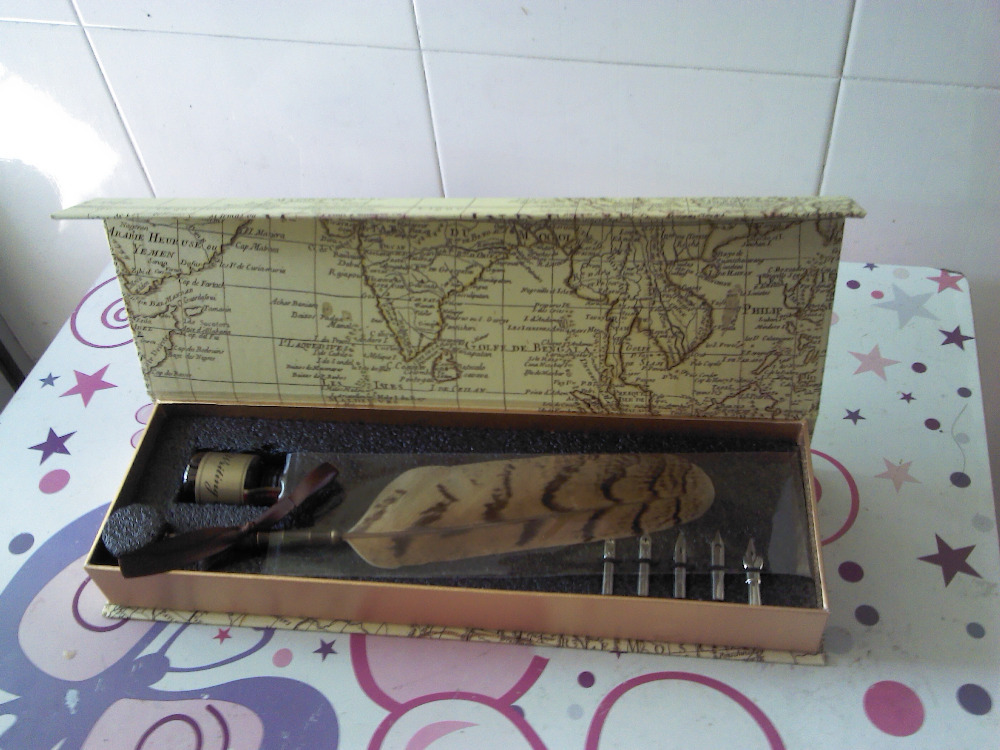 Natural Owl Feather Fountain Vintage Pen with Gift Box<br>