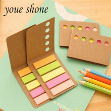 2PCS Novelty Kraft Paper Cover Candy Color Memo Pad N-times Sticky Notes Bookmark Notepad School Office Supply Student Gift(China)