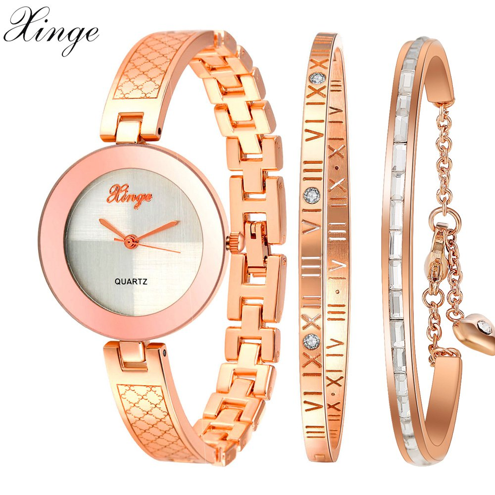 Xinge Brand Luxury Casual Watches Women Bracelet Crystal Waterproof Wristwatch Set Electronic Women Gift Quartz Wrist Watches<br>