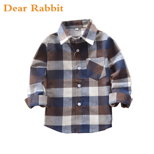 2017 children clothing boys girls plaid children's cotton shirt Blouses Baby Kids Long Sleeve Tops Clothes Outfit 9 colors 739(China)