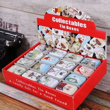 2015 NEWl! 32pcs/lot Creative Fresh Cat & Animal Design Mini Pill Box Tin Case in Display Box Packing Gift Home Decor