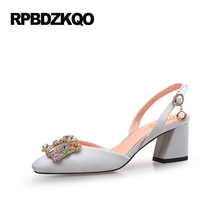 Rhinestone Slingback Shoes Customized Wedding Silver Pumps High Heels Square Toe Block Satin 11 43 Big Size 33 Diamond 10 42