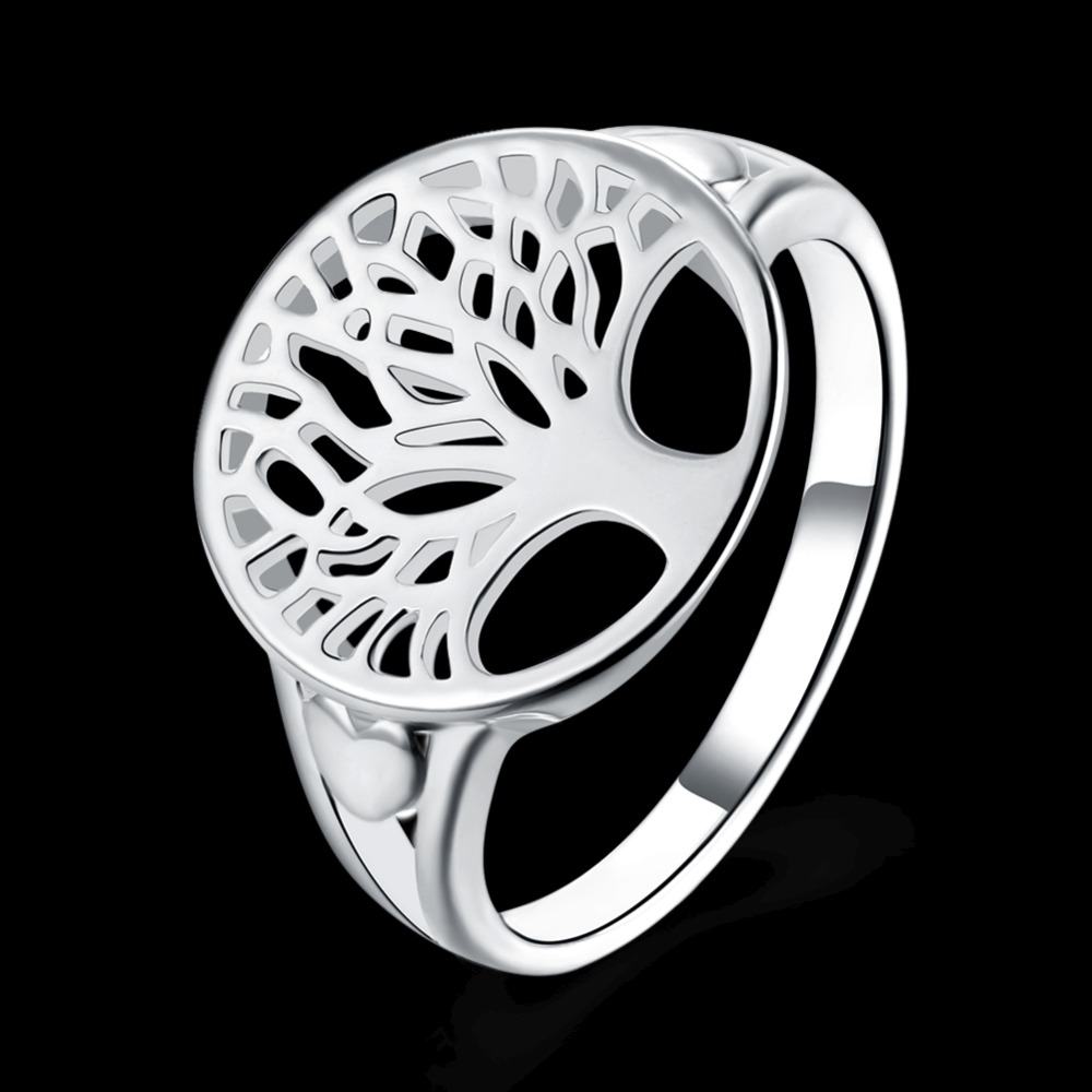 Size-6-7-8-9-Women-Fashion-Jewelry-Rings-Sliver-Color-Solid-Color-Lucky-Tree-Hollow