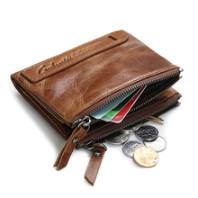 THINKTHENDO Men Genuine Leather Double Zipper Wallet Cowhide Bifold Coin Purse Card Holder