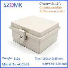 10 pcs, szomk waterproof electronics project plastic box 160*140*85mm instrument enclosure hinge box equipment housing case