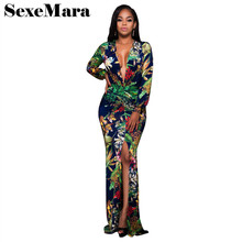 Sexy Plus Size Digital Print Floral Long Sleeve Maxi Dress Women Autumn Winter Bohemian Beach Mermaid Party Dresses D28(China)