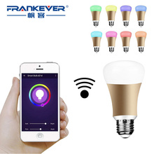 FrankEver E27 5W WiFi Smart Light Wireless Home Automation Switch Alexa echo RGB Color Smart Bulb Lamp Remote with Smartphone