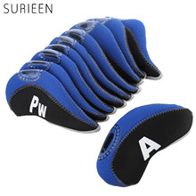 10PCS/ LOT Golf Head Cover Golf Club Iron Putter Covers Headcover Protector Golf Club Heads Accessories 3 4 5 6 7 8 9 PW SW A(China)