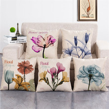 wholesale wedding gift Fashion romantic pink purple blue flower spirit chiffon decorative cushion cover home sofa pillow case