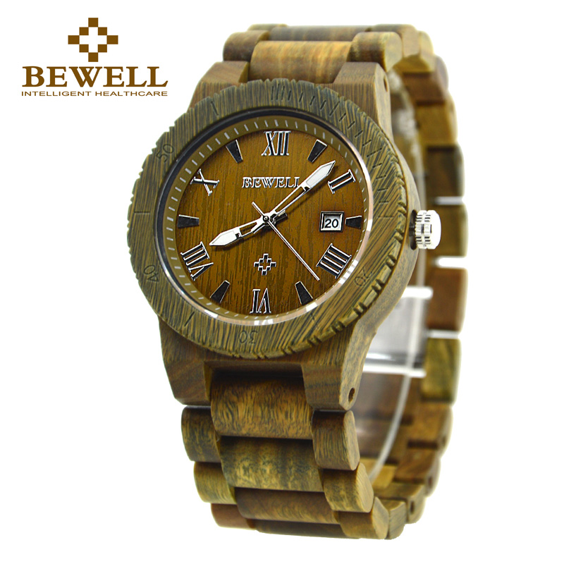 Top BEWELL Brand Men Watches Wooden Luxury Watch Waterproof Round Dial and Bracelet Clasp Relogio Masculino Watches Paper 109B<br>