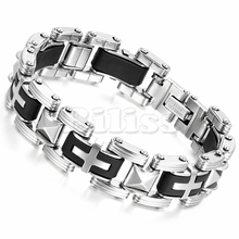 "8.5"" Trendy Male Cross Bracelet Men's Bracelet Motorcycle Chain Bangle Silver Stainless Steel Black Silicone pulseira masculina(China)"