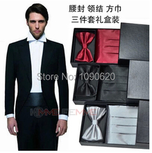 Free shipping 3 in 1Gentlemen widecummerbund bow tie kerchief  handsome men formal dress chest towel