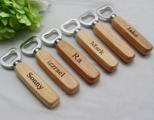 5pcs/lot Personalized Wood Beer Bottle Opener Custom Engraved and Monogrammed/Wedding Groomsmen Gift(China)