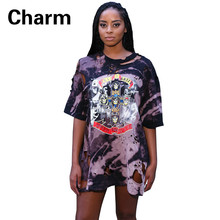 American Music Festival Women's Dresses 2016 New Fashion Short sleeve Digital Printing Hole Loose Sexy The club. Mini Dress