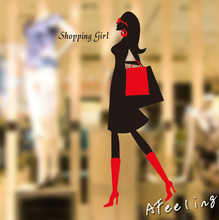 Fashion garment shoes market store window decoration name advertising sticker shopping girl woman sticker wall sticker(China)