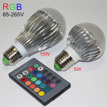1 X High Brightness 5W 10W RGB LED Bulb AC85-265V E27 Colorful Changeable RGB LED Lamp With IR Remote Controller Free Shipping(China)