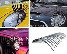 1pairs Cute Curly Black False Eyelashes Sticker,Car Headlight Eyelashes Decorations Accessories - Fits All Car Makes and Models(China)