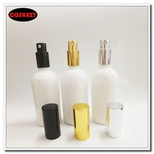 50pcs wholesale empty 100ml round white perfume bottle with mist spray pump, glass cosmetic botte 100ml