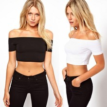 Sexy Club Dancing Womens Tight Ultra-short  T-shirts Fashionable Summer Bare Midriff Dance Practice Tops basic shirts S-XL