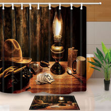 Warm Tour Western Cowboy Theme Polyester Fabric Bathroom Shower Curtain Set with Hooks(China)