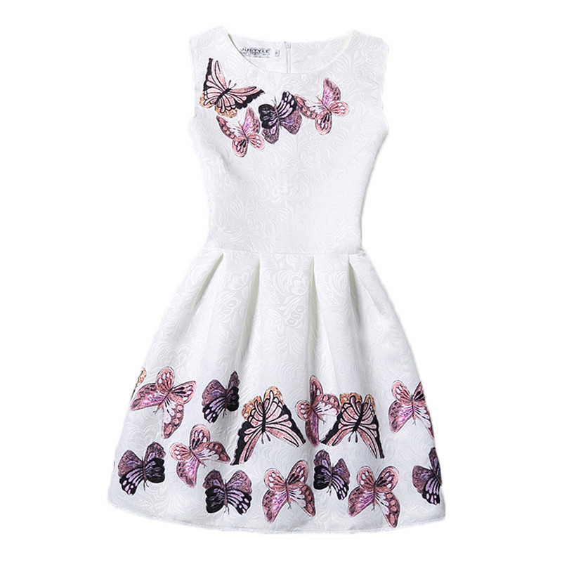 2017 New Year Kids Summer Christmas Princess Flowers Print Pattern Party Girls Dress Children Clothes Baby Girl Dresses<br><br>Aliexpress