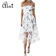 Buy WAQIA 2018 Summer Floral Print Dress Sexy Shoulder Beach Dress Casual Women Slash Neck Mesh Midi Dresses Femme Vestidos Robe for $12.84 in AliExpress store