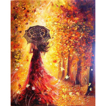 1Set Beautiful Women Umbrella Autumn Landscape DIY Painting By Numbers Coloring Paint By Numbers Modern Wall Art Picture Gift(China)