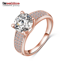 Wow!! Big Sale for new Store Hot Selling Golde/Silver Color Micro Inlay Cubic Zircon Wedding Rings CRI0010(China)