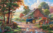 Free shipping Thomas Kinkade art painting Harvest Season on farm scenery giclee prints canvas of nice quality