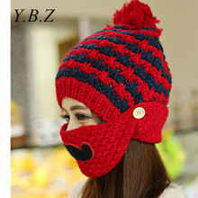 New Fashion Multifunction Winter Hats for Women Warm Skullies Christmas style Beanie Hat Mask Windproof Caps casquette femme M12