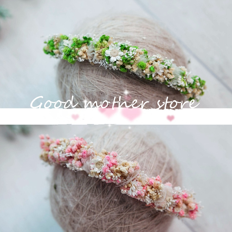 Two-color flower hair band new baby head photography studio photography props in Europe and the United States purely manual