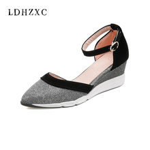 LDHZXC 2018 new High Heel Shoes Woman Sandals Wedge Summer Women wedding  Ankle Buckle Sandals Casual Women Wedges Shoes 9c0430f52628
