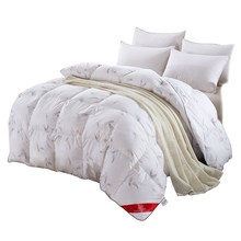 100%white duck/goose down winter quilt comforter blanket duvet filling cotton cover twin single queen supper king size fast ship(China)