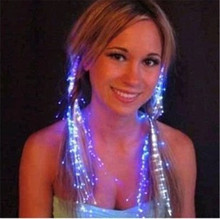 10pcs/lot Glow Blinking Hair Clip Flash LED Braid Show Party Decoration Colorful Luminous Braid Optical Fiber Wire Hairpin(China)