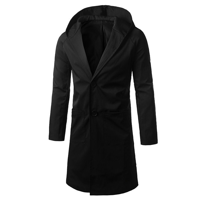 Pure Color Mens Hooded Trench Long Jacket Large Size S-5XL men long Coat Black and Green