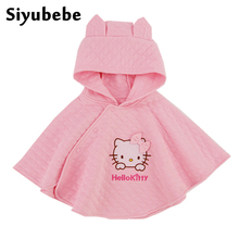 2016 Fashion Minnie Hello Kitty Kids Baby Girl Clothes Thick Cotton Cloak Coat Toddler Girls Clothing Cape For Winter Outerwear(China)