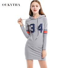 Oukytha 2017 New Spring Casual Long-Sleeved Hooded Sweater Pocket Cotton Mini Dress Women with Number Printings T15105(China)