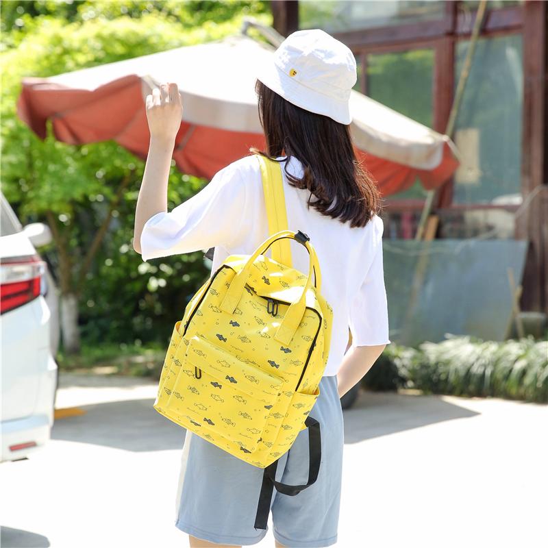 Menghuo Fish Printing Women School Bag Backpack for Teenage Girls Backpacks Female Canvas Children Schoolbag Women Bag s (33)