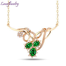 Best Gift Queen Style Hot Green Emerald Pendant Necklace With Natural Diamond 18Kt Yellow Gold Gemstone Fine Jewelry For Sale