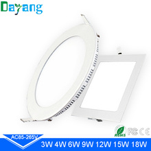 Ultra Slim LED Light Panel downlight 3W 4W 6W 9W 12W 15W 18W LED panel light Round Square SMD2835 White aluminum body panels