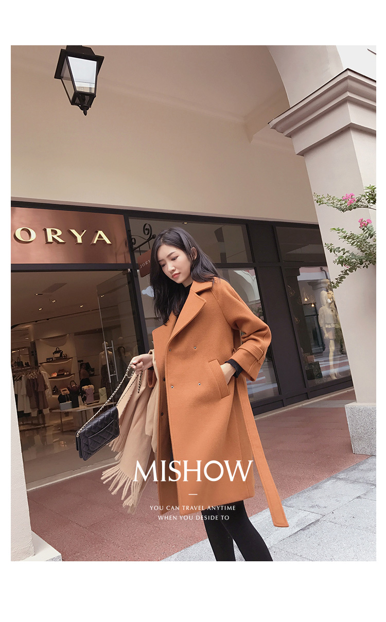 Mishow 19 autumn and winter woolen coat female Mid-Long New Korean temperament women's popular woolen coat MX17D9636 38