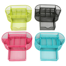 Mesh Desk Organizer storage box Pen Holder 9 Cells Storage Box Metal Desktop Office Pen Pencil Holder Home Storage Boxes  E5M1