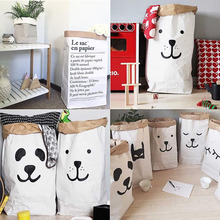 Cute Heavy Kraft Paper Storage Bags Baby Toys Kraft Paper bag Laundry Bag Toys Clothes Organizer Tool Hot(China)