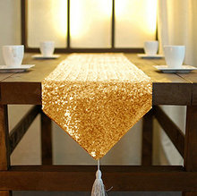 Best Quality Sequin Table Tassel Runner Wholesale Gold Sequin Table Cloths Sequin Linens Sequin Table Runner